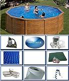 Summer Fun Juego de piscina de pared de acero, aspecto de madera, redondo, diámetro 3,50 m x 1,20 m, lámina de...
