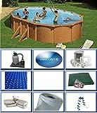 Summer Fun Grandy - Juego de piscina de acero ovalada con aspecto de madera (3,75 m x 6,10 m x 1,32 m, pantalla de...